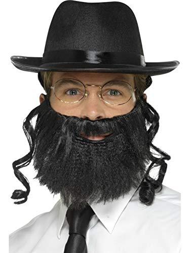 Accessoires Zubehör jüdisches Herren Männer Rabbi Set mit Hut, Haaren, Bart und Brille, perfekt für Karneval, Fasching und Fastnacht, Schwarz ()