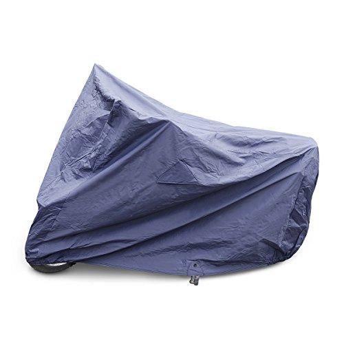 Relaxdays Motorradabdeckung Baumwolle Größe M, 230cm Outdoor Motorradplane wetterfest, lackschonendes Innenfutter, blau