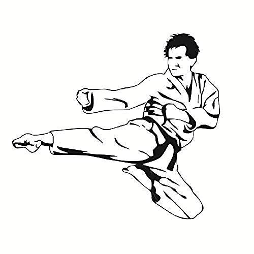Flying Karate Kick Abnehmbare Vinyl Wandtattoo für Kinder Schlafzimmer Dekorative Wandaufkleber Sport Wohnkultur für Männer 65x58 cm