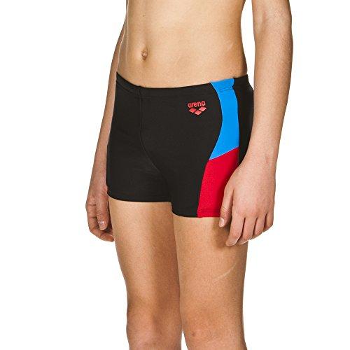 arena Jungen Sport Badehose Ren (Schnelltrocknend, UV-Schutz UPF 50+, Chlor-/Salzwasserbeständig), Black-Red-Pix Blue (504), 140