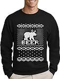 Green Turtle T-Shirts Bear + Deer = Beer - Witziger Weihnachtspulli Sweatshirt Large Schwarz