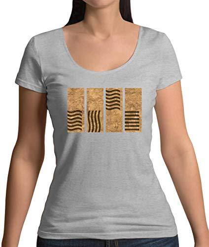 4 Element Stones - Damen T-Shirt mit Rundhalsausschnitt- Sportlich Grau - XXL (Element Leeloo Fünfte)