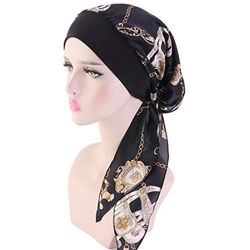 Biker Girl Zubehör Kostüm - Shuiyibali Original New Long Tail Seide Atembare Bänder Turban Hut Perücken DOO Durag Biker Kopfwickel Chemo Cap Pirate Hut Männer Haar Zubehör(None Q)