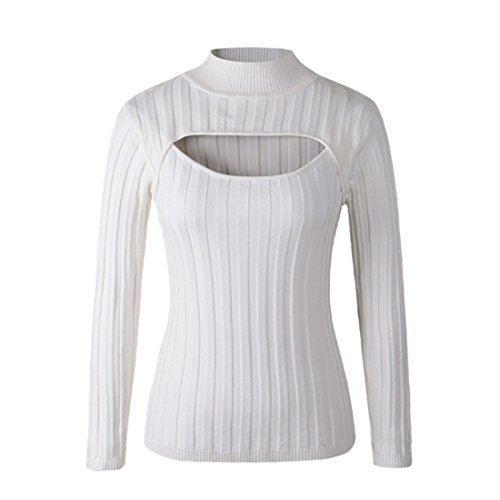 QIYUN.Z Manches Longues Sexy Poitrine Creusent Femmes Se Tricoter Col Tops Pull Blanc (large bande)