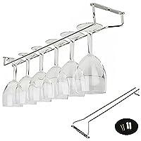 Amatt Wine Glass Rack, Stainless Steel Under Cabinet Wine Rack Glass Holder Hanging Hanger Chrome Stemware Holder for Bar Kitchen (10 inch)