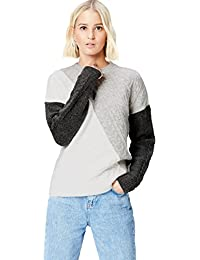 FIND Women's Patchwork Cable Knit Jumper