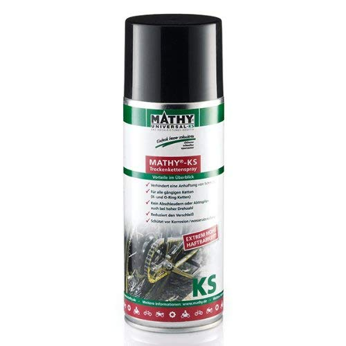 MATHY-KS Trockenkettenspray zur Reinigung und Pflege von Ketten Motorrad und Fahrrad 1 Dose 400ml