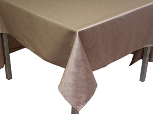 Soleil d'Ocre 814413 Fiesta Nappe Carré Impression Argent Polyester Ecru/Taupe 180 x 180 cm