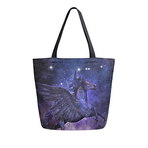 NaiiaN Sternbild Griechische Mythologie Pferd Vogel für Frauen Mädchen Damen Student Umhängetaschen Einkaufstasche Leichte Gurt Geldbörse Einkaufstaschen
