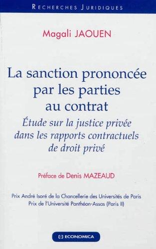 La sanction prononcée par les parties au contrat par Magali Jaouen