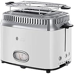 Russell Hobbs 21683-56 Toaster Grille-Pain Retro, 3 Fonctions, Température Ajustable, Réchauffe Viennoiserie, Design Vintage - Blanc