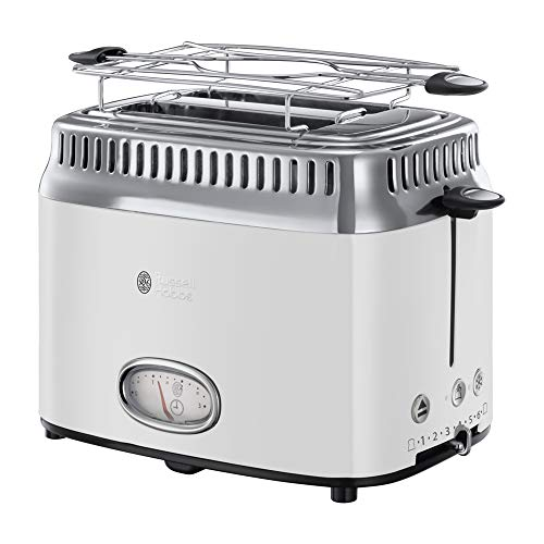 Russell Hobbs 21683-56 Toaster Retro Classic Blanc, Retro Countdown-Anzeige,...