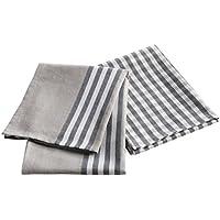 Douceur d'Intérieur Set de 2 Torchons Top Cuisine Coton Gris 50 x 70 cm