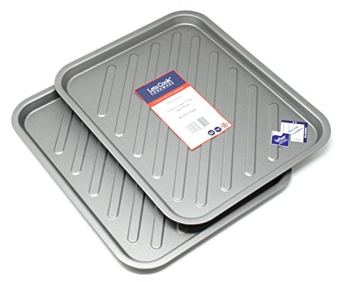 Oven Crisper Tray Twin Pack with Teflon Non Stick, Large Crisping Trays by Lets Cook Cookware