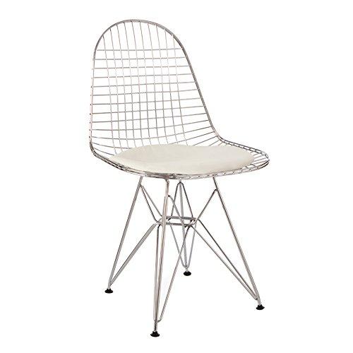Style Interior Furniture Esszimmerstuhl, aus Metall, im Retro-Stil, Abschnitte, Retro-Stil, mit, Weiß/Schwarz, schwarz/weiß Chrome Frame With White Cushion (Frame Schwarz Chrome)
