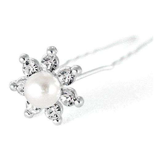 Lot de 10 épingles à cheveux perle cristal strass Fleur diapositive Accessoires de Mariage Mariée – Disponible en 3 designs