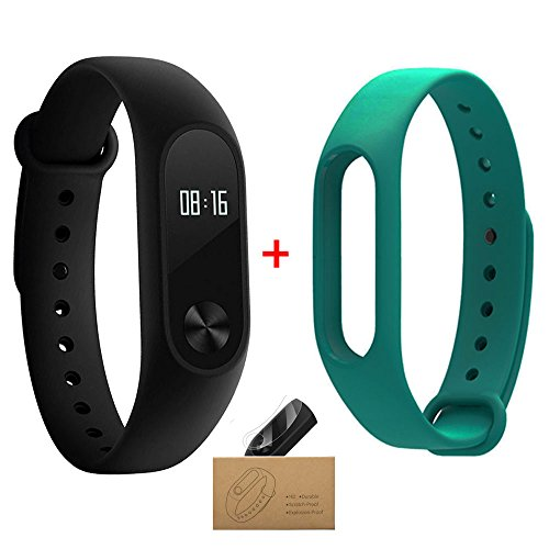 Xiaomi Band 2,Mi Band 2 With White Strap,Smart Armband mit OLED Display Berechnung Schritte Herzfrequenz Wasserdicht Wireless Bluetooth 4.0 Armband Monitor Fitness Tracker (Wireless-tracker-armband)