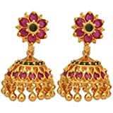 Radha's Creations ruby jhumkas MEDIUM LARGE for girls and women one gram gold traditional gold design push type opening