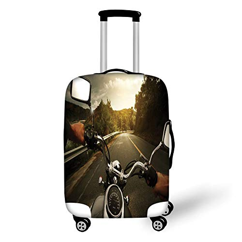 Travel Luggage Cover Suitcase Protector,Adventure,Rider Driving a Chopper on Asphalt Road Within Forest Journey Photography Decorative,Forest Green Grey,for Travel