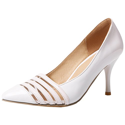 Azbro Women's Fashion Pointed Toe Slip-on Stiletto Party Pumps White