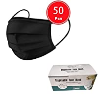 100 pcs Disposable three Layer Face Protection Surgical Hygiene Dental Dust Smog Cleaning (Black 50pcs)