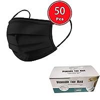 50/100 PCS 3 Ply Face Cover Dustproof, Disposable 3 layer Non-woven Anti-Particle Anti-droplet Anti-pollen Dust-proof Breathable Dustproof, Pack (50PCS, Black)