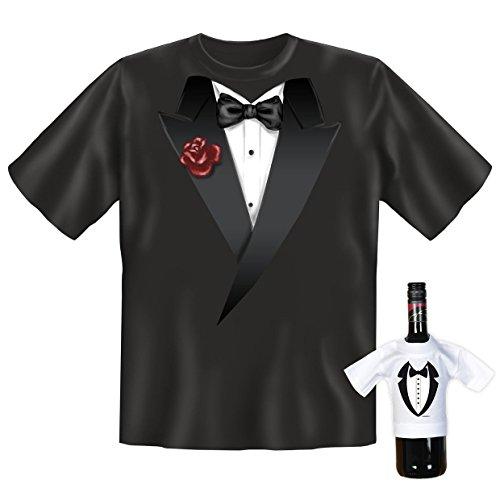 orginelles und witziges T-shirt Set Motiv : Smoking mit schwarzer Fliege Schwarz