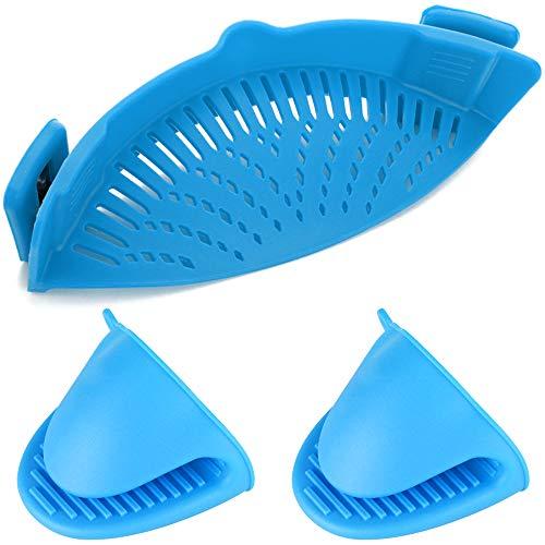 YuCool Silikon-Sieb zum Anklipsen, hitzebeständiger Abtropffilter für Seiher und Sieb Snaps an Schüsseln, Töpfen und Pfannen, mit 2 Silikonhandschuhen, Blau (Silikon-topf-sieb)