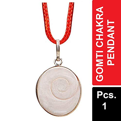 Zonarwood 100% Natural & Real Energized Gomti Chakra Pendant in White Metal, Off White, Locket for Women and Men