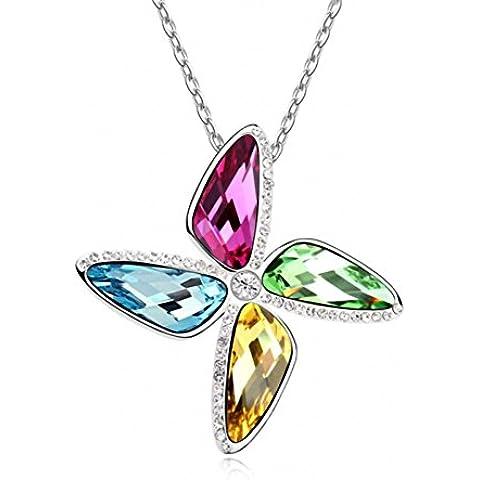 TAOTAOHAS cristal colgante de Collares corto [ Molino de viento del amor, Aquamarine ] 18KGP