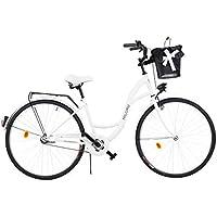 """Milord. 2018 Cómoda Bicicleta de ciudad con una Canasta, Bicicleta, 1 Velocidad, Rueda de 28"""", Blanco"""