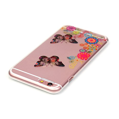 Apple iPhone 6s Silikon Hülle,iPhone 6 Hülle,Ekakashop Ultra dünn Slim Bunt Plum Blume Muster Modisch Durchsichtig Transparent TPU Flexible Gel Crystal Case Bumper Soft Back Cover Etui Tasche Schutzhü Schmetterling