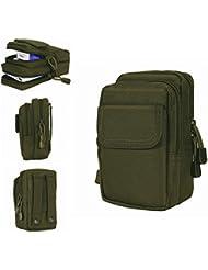 Resistente al agua bolsa de nylon militar táctico, utilidad Gadget Molle cinturón cintura bolsa con 6bolsillos para Camping senderismo, verde
