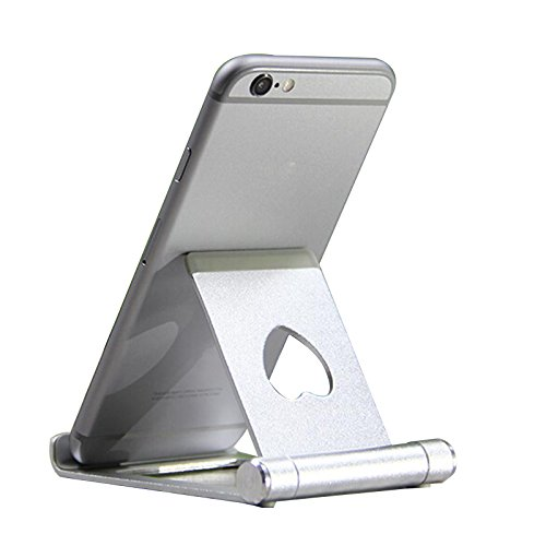Dosige 1 Pcs Accesorios de teléfono movil Soporte Móvil Sobre la Mesa Soporte para iPad Tabletas iPhone 7/6 Plus/6s/6/SE y Android Smartphone…Color de Madera 90x75x10mm (Plata)