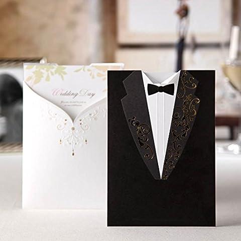 Wishmade 50x Biglietti di inviti per matrimonio Kit Bianco e nero abito da sera carta cartoncino fidanzamento matrimonio sposa doccia inviti feste con buste e sigilli cw2011