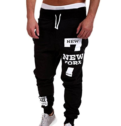ZEZKT-Herren Casual Hose Lang Frühling Fitness Loose Crotch Hose Hiphop Dance Jogger Sweatpants Baggy Designer Chino Stoff Hose Regular Fit Outdoorhose Freizeithose Stretch Basic (3XL, Schwarz)