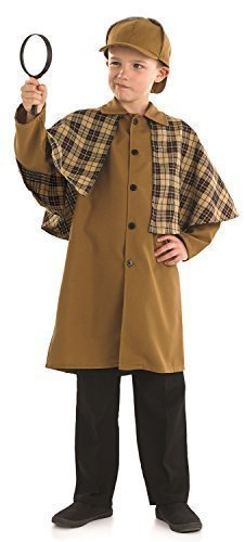 jungen Sherlock Holmes Viktorianisch Detektive büchertag Kostüm Kleid Outfit - Braun, 4-6 Years Detektiv Outfit