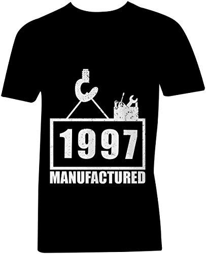 Manufactured 1997 - V-Neck T-Shirt Männer-Herren - hochwertig bedruckt mit lustigem Spruch - Die perfekte Geschenk-Idee (01) schwarz