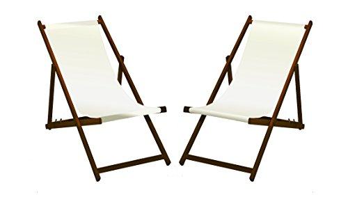 2 x Liegestuhl, Holz mit dunkelbrauner Lasur, Weiß ohne Armlehne, klappbar, mit wechselbaren Stoffbezug