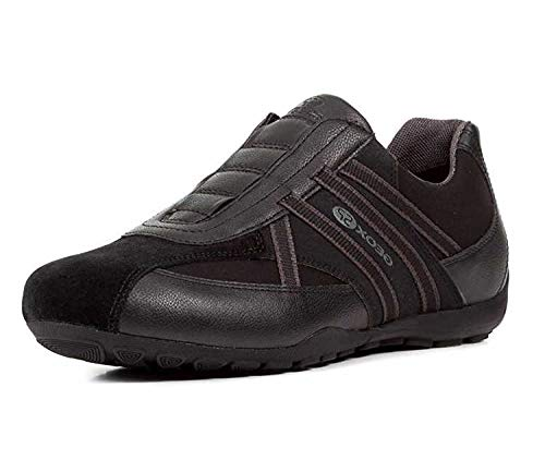 Geox U823FB Uomo Ravex Sportlicher Herren Sneaker, Halbschuh mit Gummizug, Schlüpfschuh, Slipper, Freizeitschuh, Atmungsaktiv Schwarz (Black), EU 41