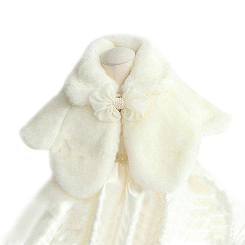 Icegrey Mädchens Prinzessin Kunstpelz Bolero Schulter Kap Blumen Mädchen Schal Stola Shrug Umhang Brautjungfer Pelerine Weiß L (Mädchen Capelet)