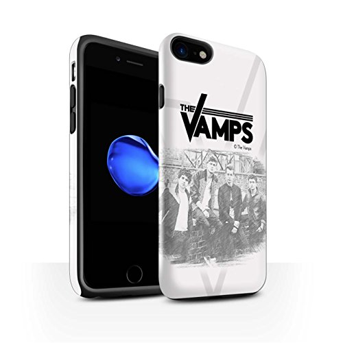 Officiel The Vamps Coque / Brillant Robuste Antichoc Etui pour Apple iPhone 8 / Journal Intime Design / The Vamps Séance Photo Collection Esquisser