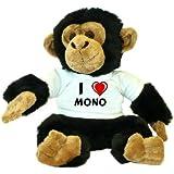 Chimpancé de peluche (juguete) con Amo Mono en la camiseta (nombre de pila/apellido/apodo)