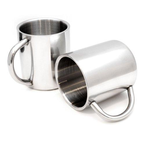 2er SET Edelstahl Becher/Thermobecher doppelwandig isoliert 220ml, Trinkbecher/Tasse in der Farbe Silber - Marke Ganzoo Becher Tasse Set