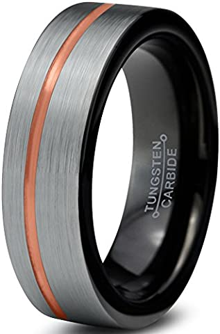 Tungsten Wedding Band Ring 6mm for Men Women Black & 18K Rose Gold Offset Line Pipe Cut Brushed Polished Lifetime