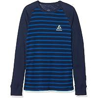 Odlo Niños SUW Crew Neck Active Originals Unterhemd, Otoño/Invierno, Infantil, Color Diving Navy/Energy Blue/Stripes, Tamaño 128