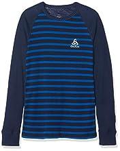 Odlo ML WARM, Sweatshirt SUW TOP Crew Neck L/S ACTIVE Originals K Enfant, Bleu (Diving Navy/Energy Blue/Stripes), FR : XXS (Taille Fabricant : 92)