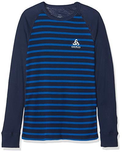 Odlo Kinder SUW Crew Neck Active Originals Unterhemd, Diving Navy/Energy Blue/Stripes, 116