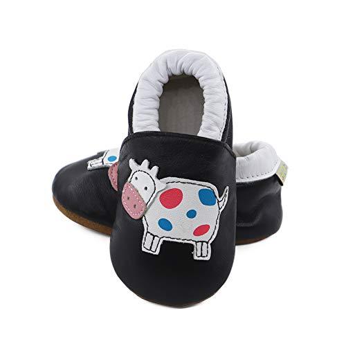 Vesi-WeichesLeder Lauflernschuhe Krabbelschuhe Babyschuhe Schlüpfen Atmungsaktiv Junge Mädchen Schwarze Kuh Größe XL:18-24 Monate