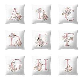 MORETIME Taie d'oreiller, Nouveau Style D'été Simple Taie d'oreiller 45x45cm Lettre Anglais Taie Décorative Cadeau Fête…